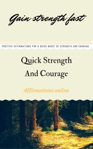 Quick Strength And Courage - positive affirmations ebook cover from affirmations.online