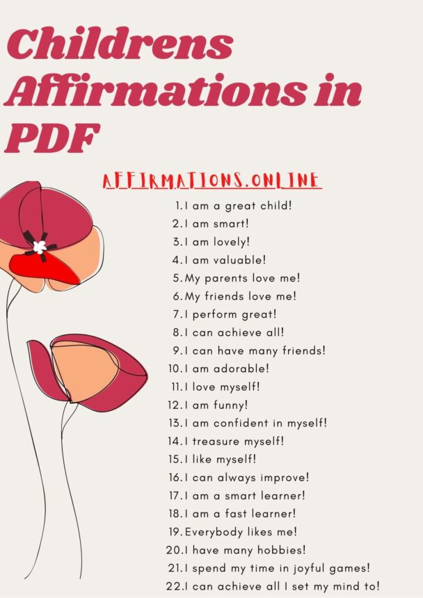 Childrens Affirmations in PDF - featured image