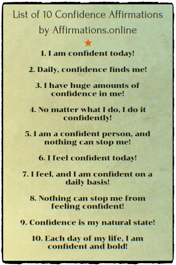 List of Affirmations by Affirmations.online - List of 10 Confidence Affirmations