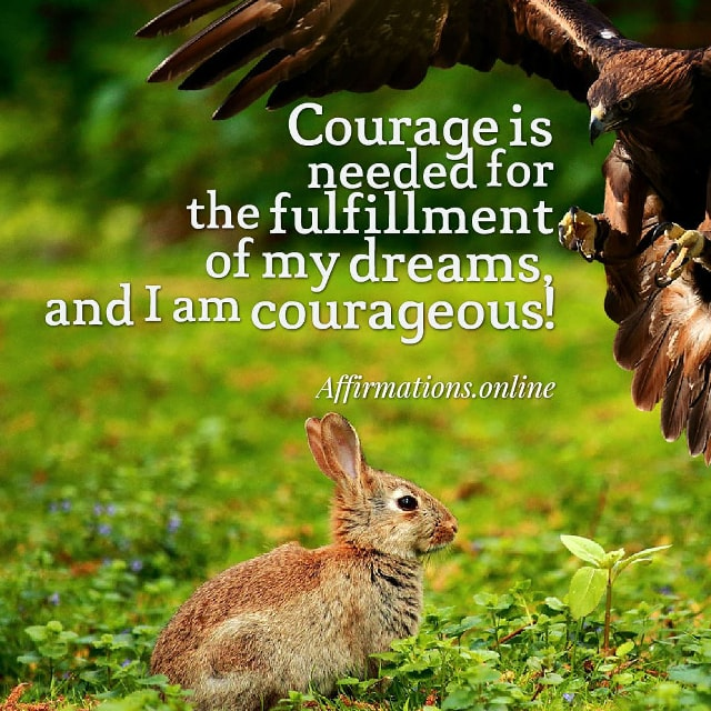 Courage is needed for the fulfillment of my dreams, and I am courageous!