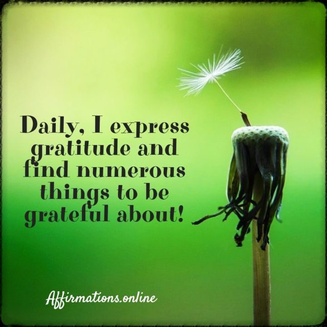 Positive affirmation from Affirmations.online - Daily, I express gratitude and find numerous things to be grateful about!