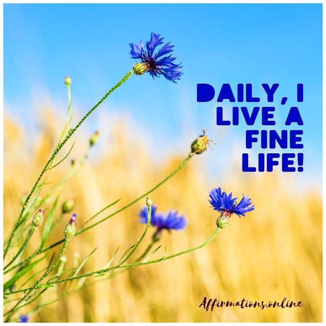Positive affirmation from Affirmations.online - Daily, I live a fine life!
