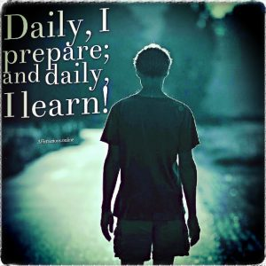 Positive affirmation from Affirmations.online - Daily, I prepare; and daily, I learn!