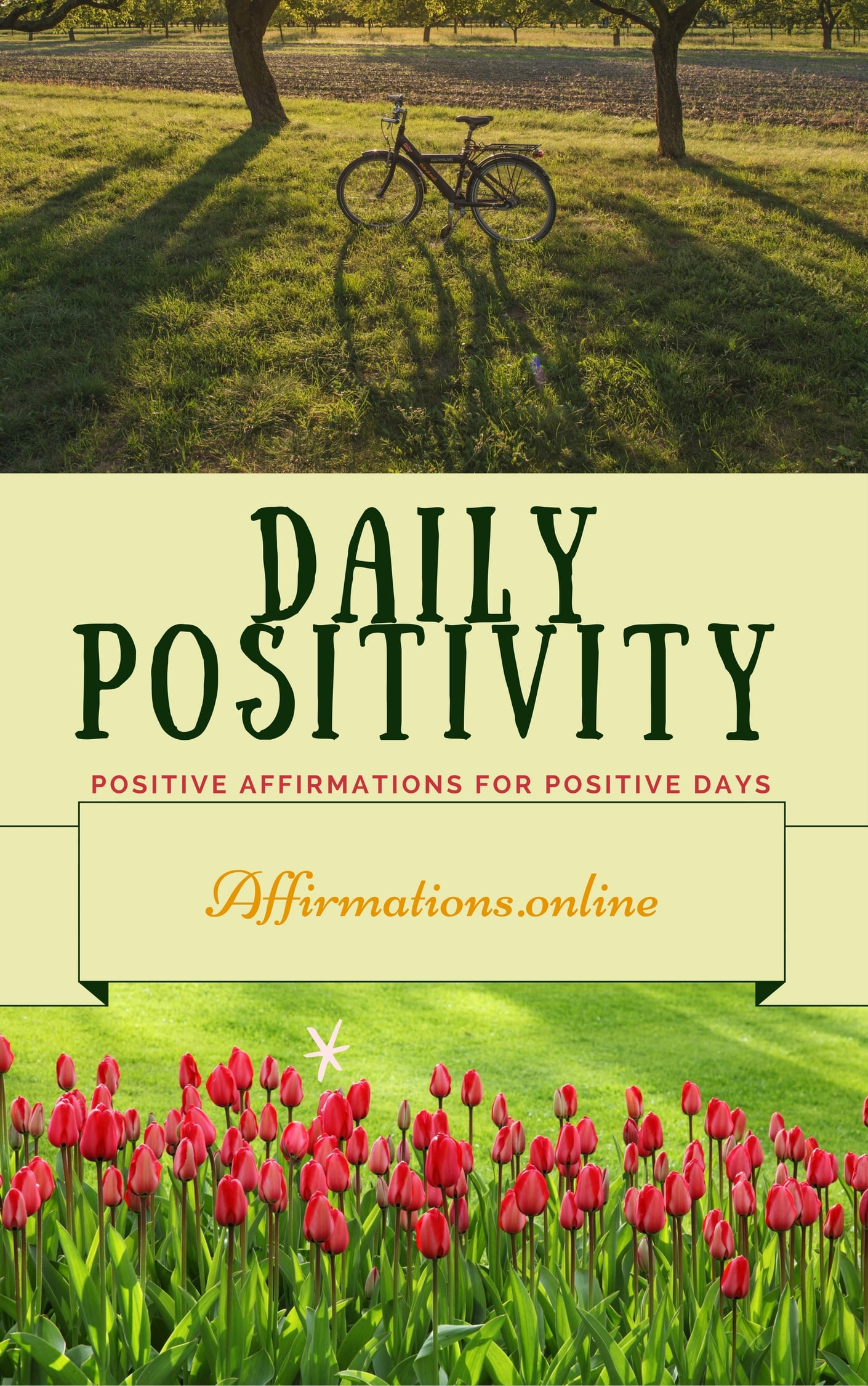 Daily Positivity - eBook cover - free affirmations eBook from affirmations.online