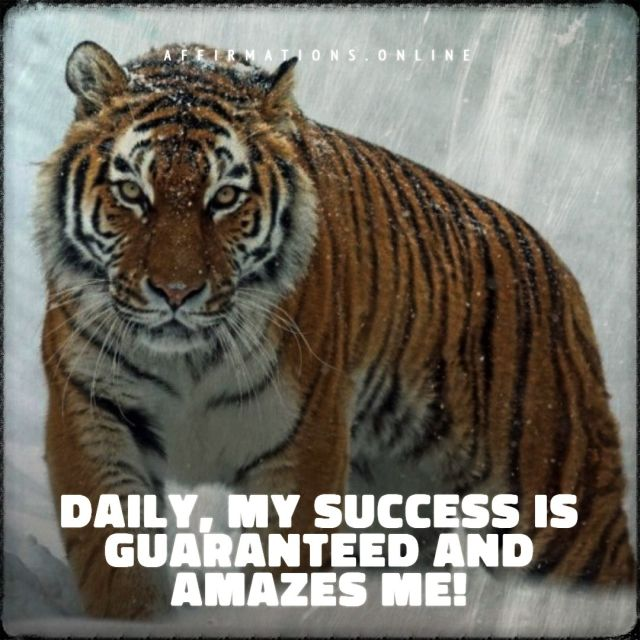 Positive affirmation from Affirmations.online - Daily, my success is guaranteed and amazes me!