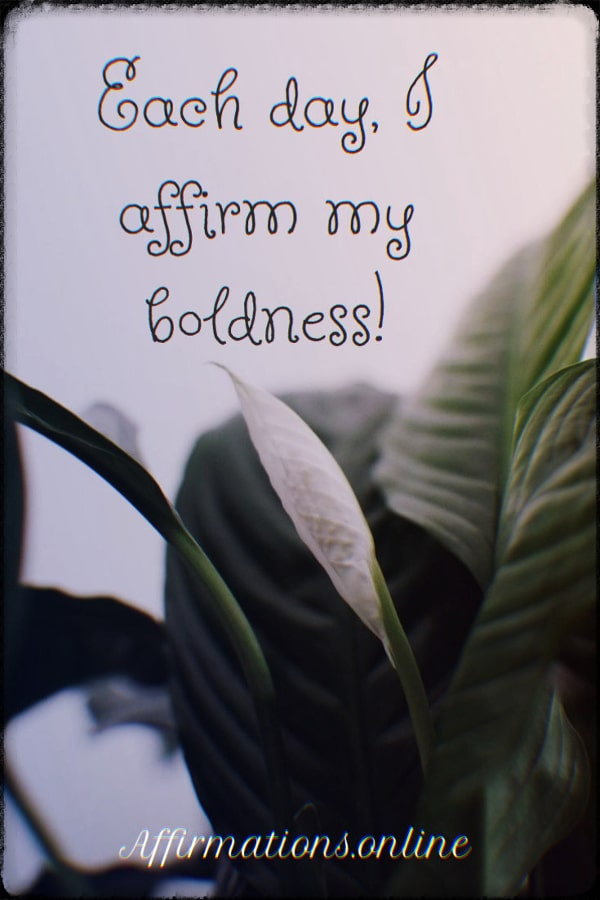 Positive affirmation from Affirmations.online - Each day, I affirm my boldness!