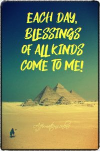 Positive affirmation from Affirmations.online - Each day, blessings of all kinds come to me!