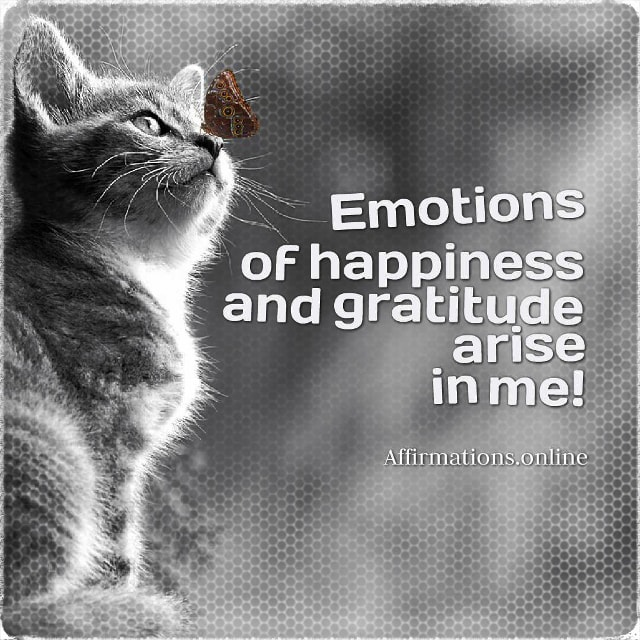 Positive affirmation from Affirmations.online - Emotions of happiness and gratitude arise in me!