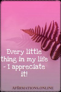Positive affirmation from Affirmations.online - Every little thing in my life – I appreciate it!