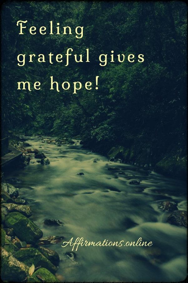 Positive affirmation from Affirmations.online - Feeling grateful gives me hope!