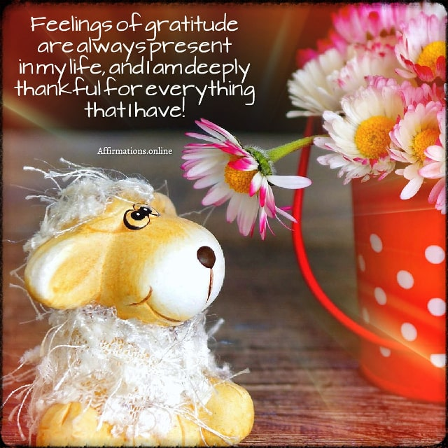 Positive affirmation from Affirmations.online - Feelings of gratitude are always present in my life, and I am deeply thankful for everything that I have!