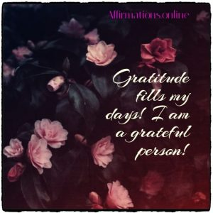 Positive affirmation from Affirmations.online - Gratitude fills my days! I am a grateful person!