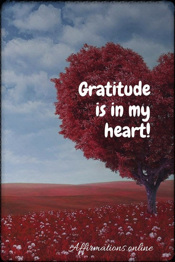 Positive affirmation from Affirmations.online - Gratitude is in my heart!