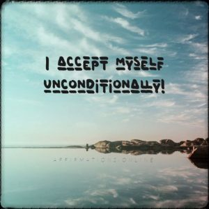 Positive affirmation from Affirmations.online - I accept myself unconditionally!