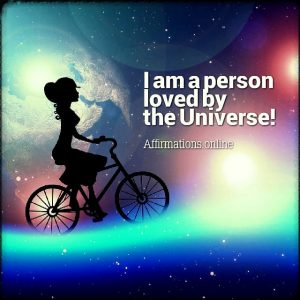 Positive affirmation from Affirmations.online - I am a person loved by the Universe!
