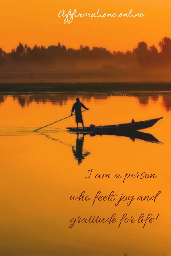Positive affirmation from Affirmations.online - I am a person who feels joy and gratitude for life!