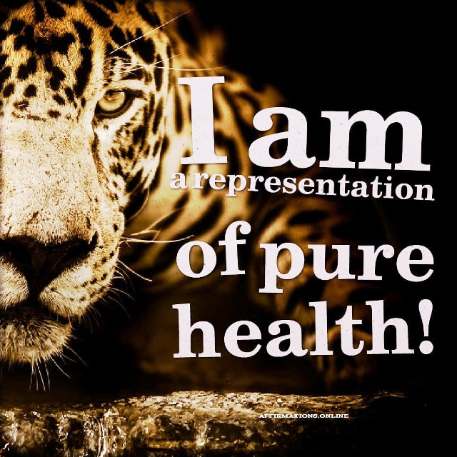 Positive affirmation from Affirmations.online - I am a representation of pure health!