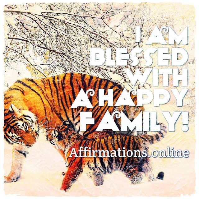 Positive affirmation from Affirmations.online - I am blessed with a happy family!