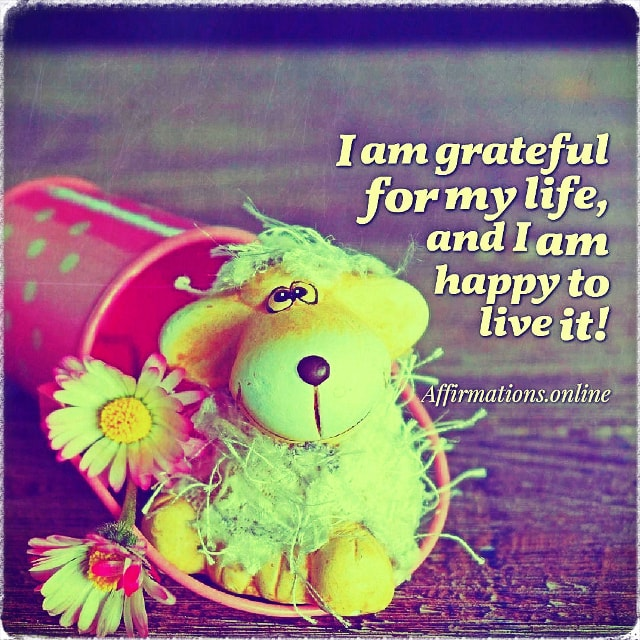 Positive affirmation from Affirmations.online - I am grateful for my life, and I am happy to live it!