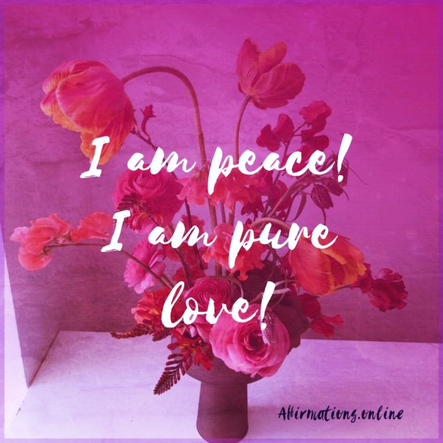 Positive affirmation from Affirmations.online - I am peace! I am pure love!