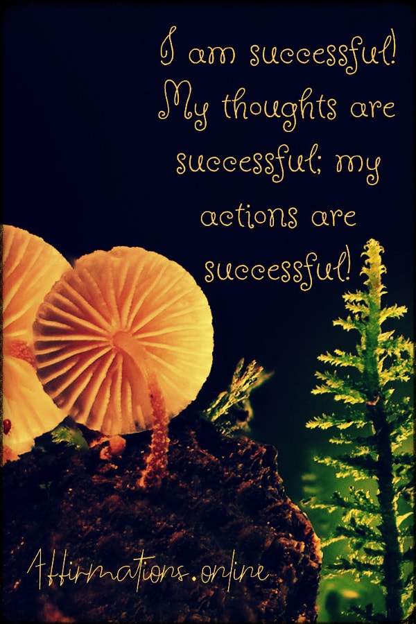 Positive affirmation from Affirmations.online - I am successful! My thoughts are successful; my actions are successful