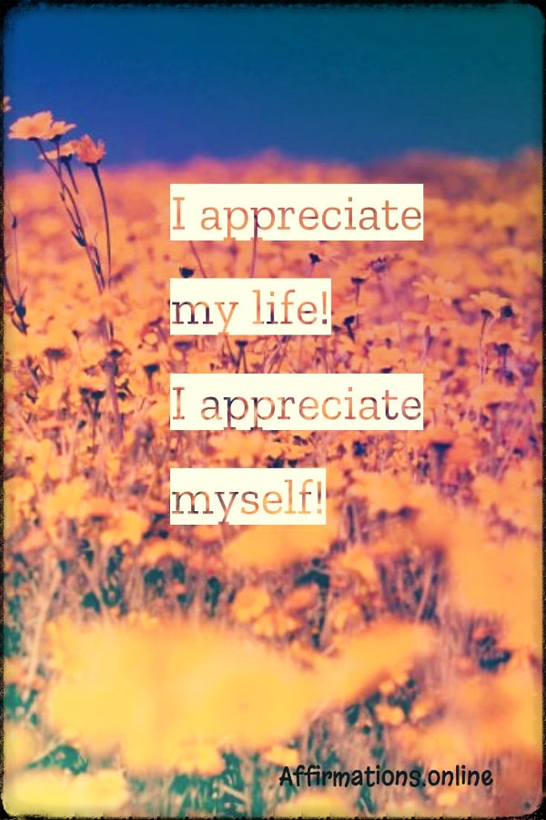 Positive affirmation from Affirmations.online - I appreciate my life! I appreciate myself!