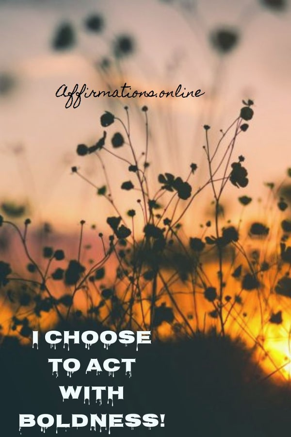 Positive affirmation from Affirmations.online - I choose to act with boldness!