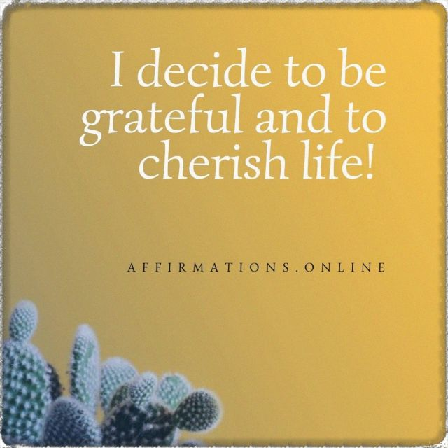 Positive affirmation from Affirmations.online - I decide to be grateful and to cherish life!