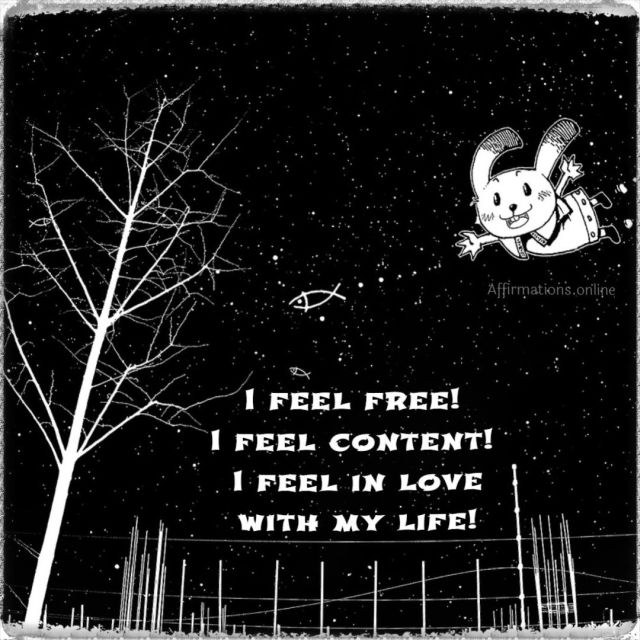 Positive affirmation from Affirmations.online - I feel free! I feel content! I feel in love with my life!