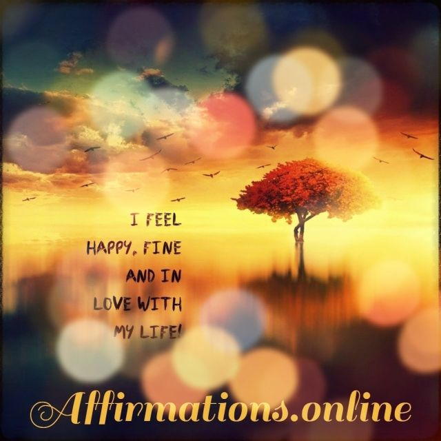 Positive affirmation from Affirmations.online - I feel happy, fine and in love with my life!