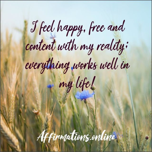 Positive Affirmation from Affirmations.online - I feel happy, free and content with my reality; everything works well in my life!