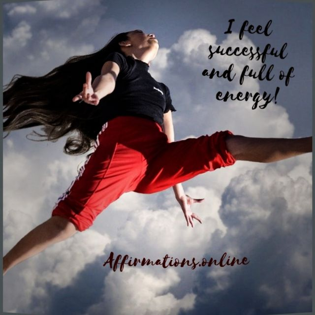 Positive affirmation from Affirmations.online - I feel successful and full of energy!