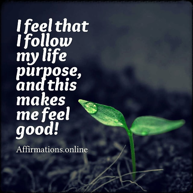 Positive affirmation from Affirmations.online - I feel that I follow my life purpose, and this makes me feel good!