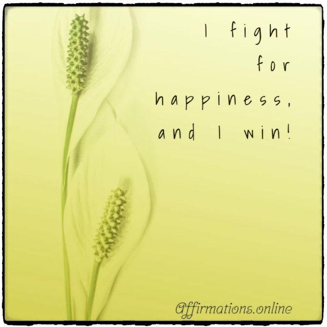 Positive affirmation from Affirmations.online - I fight for happiness, and I win!