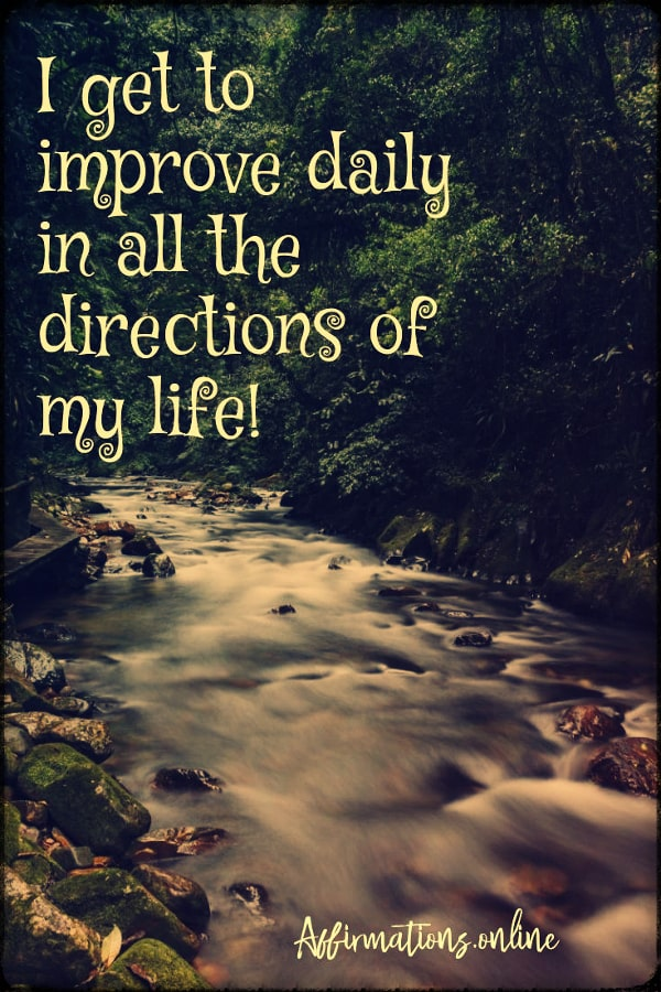 Positive affirmation from Affirmations.online - I get to improve daily in all the directions of my life!