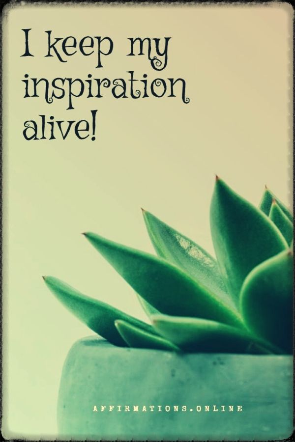 Positive affirmation from Affirmations.online - I keep my inspiration alive!