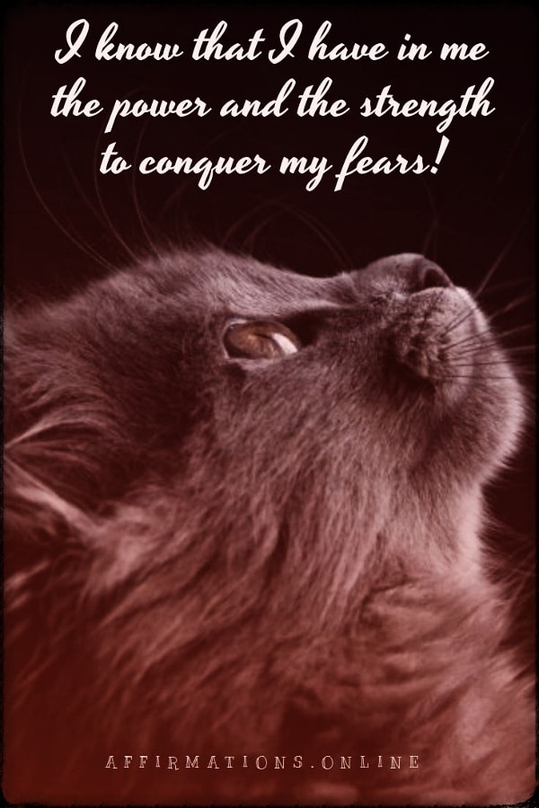 Positive affirmation from Affirmations.online - I know that I have in me the power and the strength to conquer my fears!