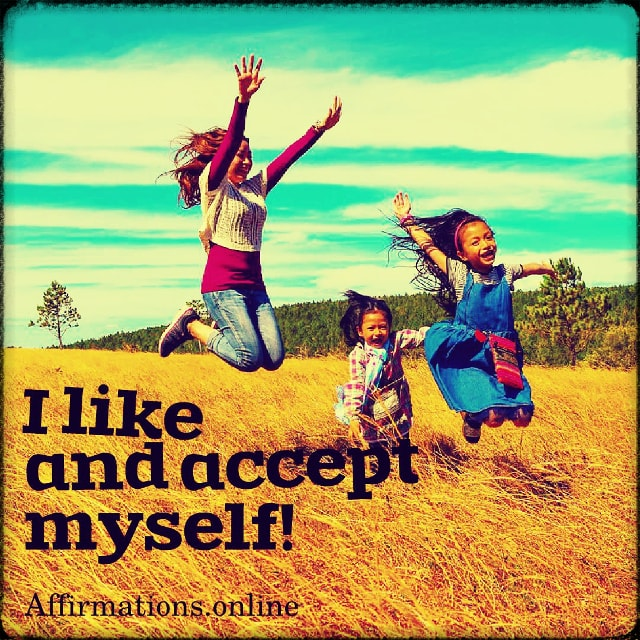 Positive affirmation from Affirmations.online - I like and accept myself!
