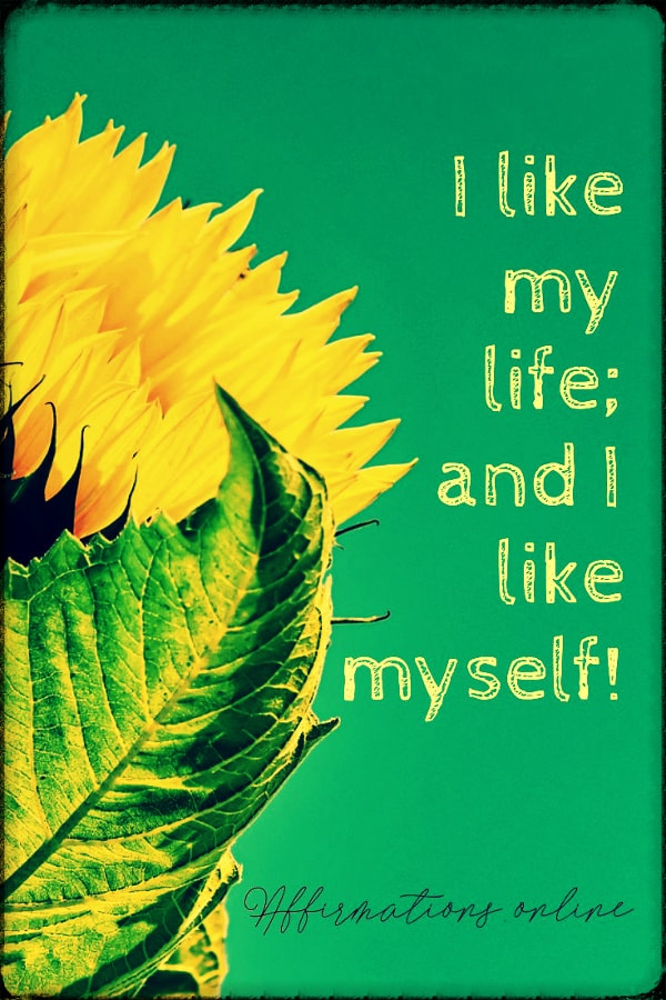 Positive affirmation from Affirmations.online - I like my life; and I like myself!