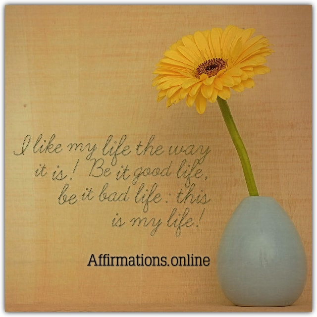 Positive affirmation from Affirmations.online - I like my life the way it is! Be it good life, be it bad life: this is my life!