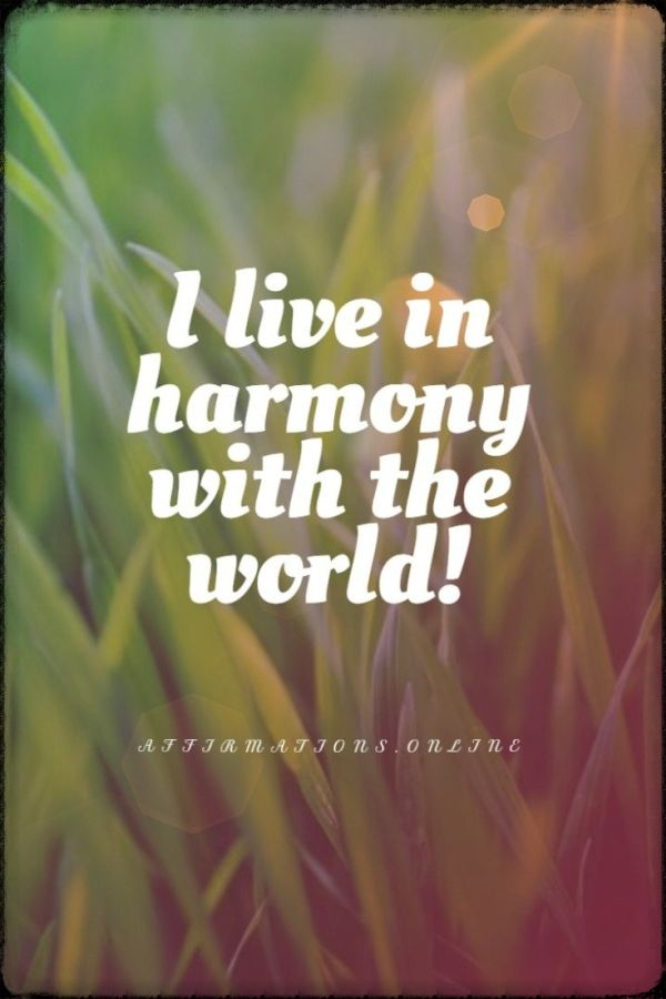 Positive affirmation from Affirmations.online - I live in harmony with the world!