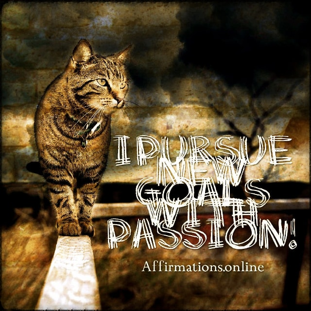 Positive affirmation from Affirmations.online - I pursue new goals with passion!