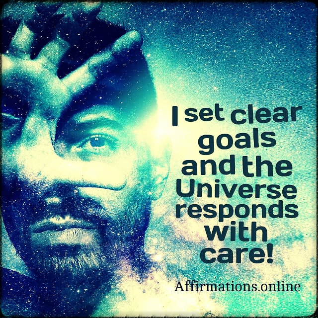 Positive affirmation from Affirmations.online - I set clear goals and the Universe responds with care!
