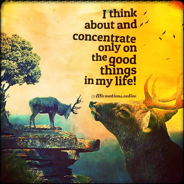 Positive affirmation from Affirmations.online - I think about and concentrate only on the good things in my life!
