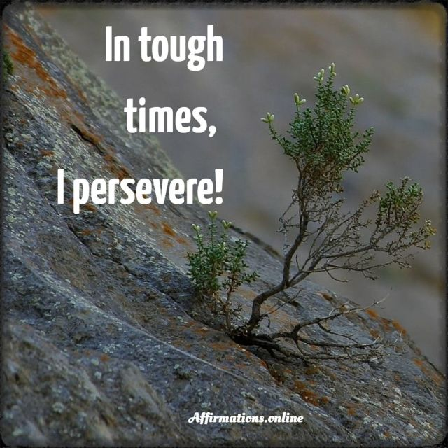 Positive Affirmation from Affirmations.online - In tough times, I persevere!