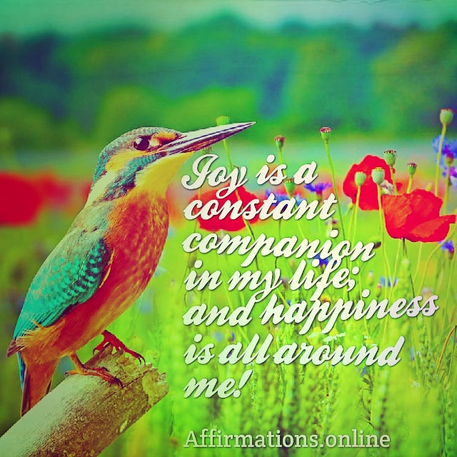 Positive affirmation from Affirmations.online - Joy is a constant companion in my life; and happiness is all around me!
