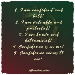 List of Affirmations by Affirmations.online - List of 5 confidence and boldness affirmations