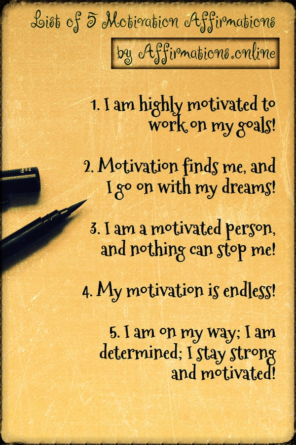 List of Affirmations by Affirmations.online - List of 5 Motivation Affirmations