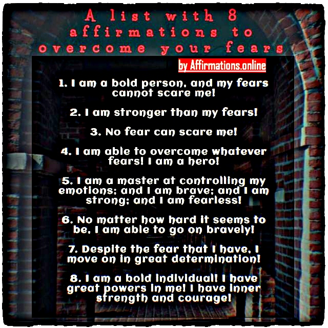 List with 8 affirmations to overcome your fears