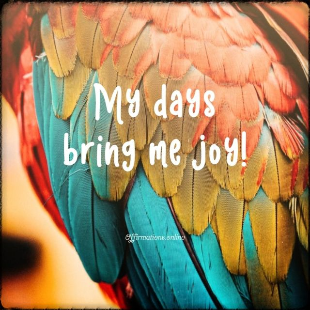 Positive affirmation from Affirmations.online - My days bring me joy!